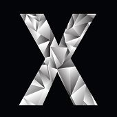 stock photo of letter x  - illustration with crystal letter X on a black background - JPG