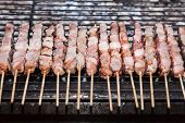 image of souvlaki  - Souvlaki kebap on the grill - JPG
