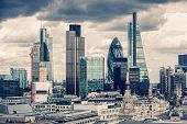 stock photo of skyscrapers  - The City of London in the afternoon - JPG