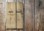 foto of religious  - Concept or conceptual Christian cross cut in an old grungy or vintage paper - JPG