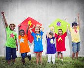 picture of kites  - Children Friends Kite Colourful Kids Smiling Concept - JPG