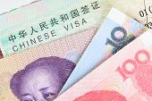 stock photo of yuan  - Chinese or Yuan banknotes money from China - JPG