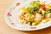 stock photo of maize  - salad with maize and cheese - JPG