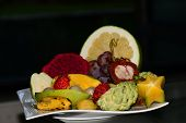 image of fruit platter  - A selection of fruit on a plate - JPG