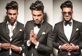 image of coat tie  - collage image of same young sexy man in tuxedo - JPG