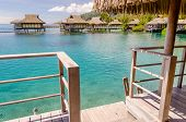 pic of french polynesia  - Overwater Bungalows in Moorea French Polynesia, 2012 ** Note: Visible grain at 100%, best at smaller sizes - JPG
