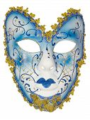 picture of venetian carnival  - Carnival mask blue Christmas New year Venetian white background isolated object  - JPG