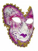 stock photo of venetian carnival  - Carnival mask red pink Christmas New year Venetian white background isolated object  - JPG