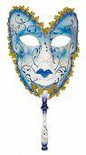 foto of venetian carnival  - Carnival mask blue Christmas New year Venetian white background isolated object  - JPG