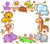 image of african lion  - Square frame with cartoon wild African animals - JPG
