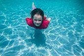 foto of playtime  - Girl swimming pool underwater summer fun playtime - JPG