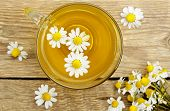 picture of chamomile  - top view of cup of chamomile tea with chamomile flowers - JPG
