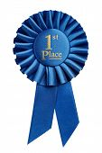 picture of rosettes  - First place award rosette isolated on white background - JPG