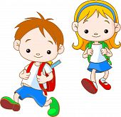 picture of school child  - Two cute kids going to School - JPG