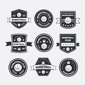 stock photo of crown  - Basketball set vintage emblems labels and logos or symbols with laurel wreath basketball ball crown and stars - JPG