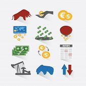stock photo of bull  - Set business and finance stock exchange icons - JPG