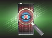 picture of virus scan  - Magnifier and virus data in phone with green background - JPG