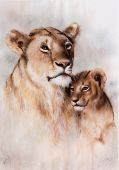 stock photo of airbrush  - A beautiful airbrush painting of a loving lion mother and her baby cub - JPG