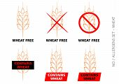 image of wheat-free  - Brown Vector Wheat Free Signs isolated on white background - JPG