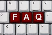 foto of faq  - Getting the FAQs online A gray computer keyboard with the word FAQ in red letters - JPG