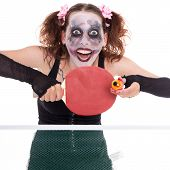 pic of ping pong  - scary female clown is playing ping - JPG