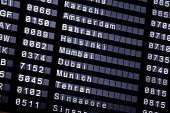 pic of tehran  - A flight schedule at the airport show Karachi Amsterdam Bahrain Helsinki Mumbai Dubai Munich Tehran Singapore - JPG