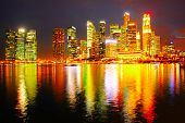 pic of singapore night  - Downtown Core of Singapore reflecting in the river at night - JPG