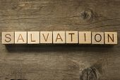 picture of evangelism  - Salvation wooden text on a wooden background - JPG