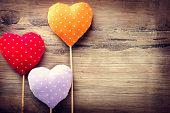 picture of valentines  - Valentines Vintage Handmade Hearts over Wooden Background - JPG