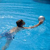 stock photo of pool ball  - swimming pool background  - JPG
