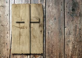 picture of christianity  - Concept or conceptual Christian cross cut in an old grungy or vintage paper - JPG