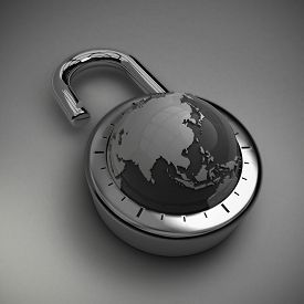 stock photo of combinations  - A combination lock is unlocked with the Earth as its focus - JPG