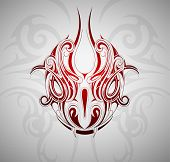 pic of snake-head  - Monster snake head tattoo shape with decorative backdrop - JPG