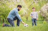 image of football pitch  - Young father with his little son having fun on football pitch - JPG