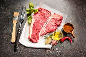 pic of rib eye steak  - Raw fresh meat T - JPG