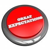 stock photo of expectations  - Great expectations button isolated over white square image 3d render - JPG