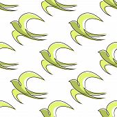 picture of swallow  - Seamless pattern of outline abstract swallow birds with green body and light green wings for background design - JPG