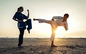 picture of  art  - couple training in martial arts on the beach at sunrise - JPG