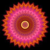 picture of spike  - Multi colored concentric ornament pattern inscribed in spiked round shape on black - JPG