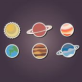 picture of earth mars jupiter saturn uranus  - set of color icons with planets of the solar system for your design - JPG