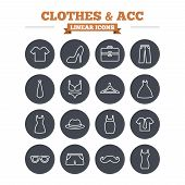 image of maternal  - Clothes and accessories linear icons set - JPG