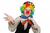 picture of maracas  - Female clown with maracas isolated on white - JPG