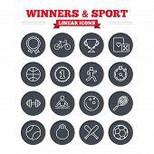 foto of winner  - Winners and sport linear icons set - JPG