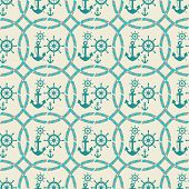 pic of ship steering wheel  - seamless pattern of anchors and ship steering wheels  - JPG