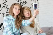 picture of pouting  - Cute sisters pouting while taking photos with smart phone at home - JPG
