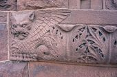 picture of burlington  - carved cat with wings in red stone - JPG