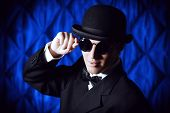 picture of bowler hat  - Portrait of an elegant old - JPG