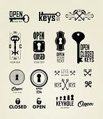 stock photo of keyhole  - Different beautiful silhouettes keyholes - JPG