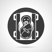 foto of obstetrics  - Black flat round vector icon with white contour newborn in diapers for pediatrician or obstetrics on gray background - JPG