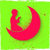 picture of namaz  - Pink silhouette of a religious Muslim boy offering Namaz  - JPG